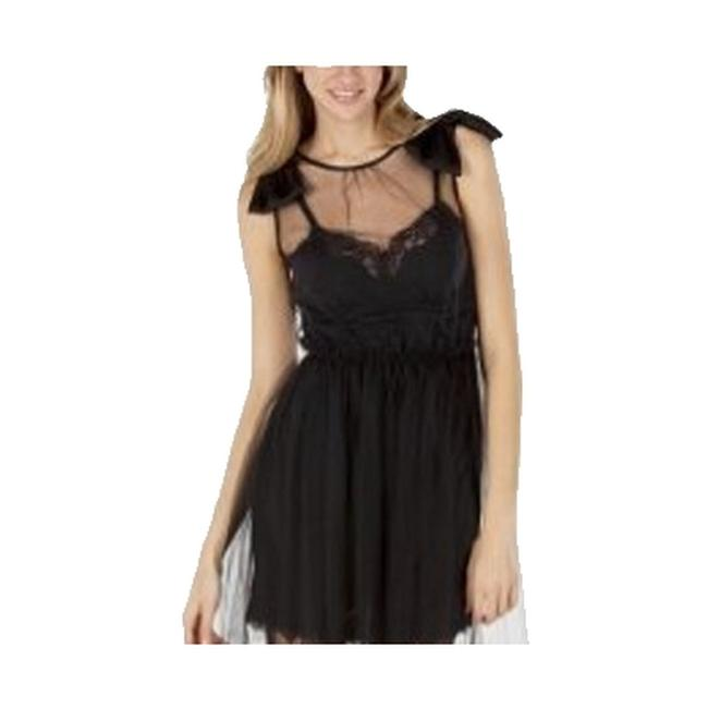 Item - * Free Shipping Black Lace + Tulle Above Knee Short Casual Dress Size 12 (L)