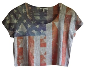 Charlotte Russe American Flag Crop T Shirt