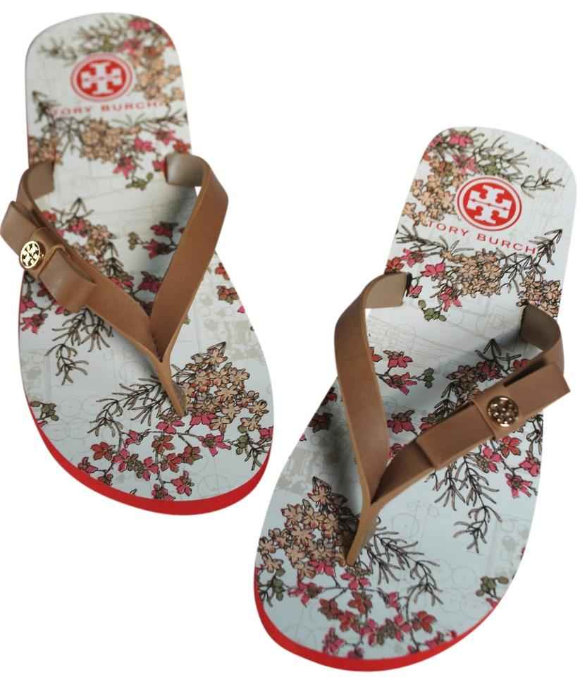 c5f998d0ccdf4 Tory Burch Clay Beige Botanical Garden With Box Carlton Flip Flop Flat  Leather Rubber Sandals