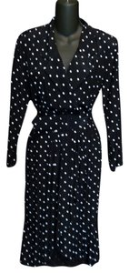 Avon Fashions Made In The U.s.a. Polka Dot Long Sleeve Wrap Belted Dress