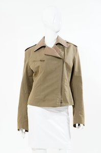 Donna Karan Dkny Green Camel Tan Asymmetrical Rick Owens Zipper Zippered Coat 10 M Cotton Fall Khaki Jacket