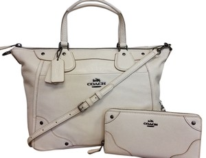 Coach Leather Cross Body Satchel in Chalk/Off White