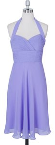 Purple Halter Sweetheart Pleated Waist & Bust Chiffon Size:6 Dress
