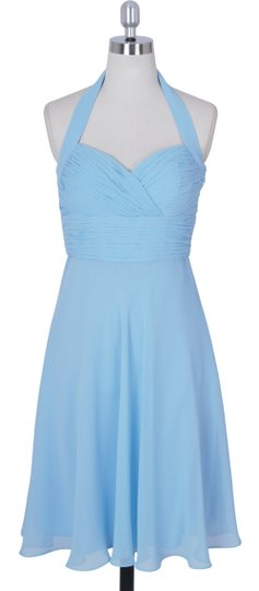Blue Chiffon Halter Sweetheart Pleated Waist Formal Bridesmaid/Mob Dress Size 6 (S)