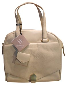 Allibelle Folio Dome Leather Handbag Satchel in Cream