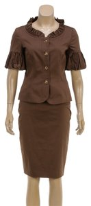 Escada Escada Brown Button Down Jacket and Skirt Suit (Size 34)