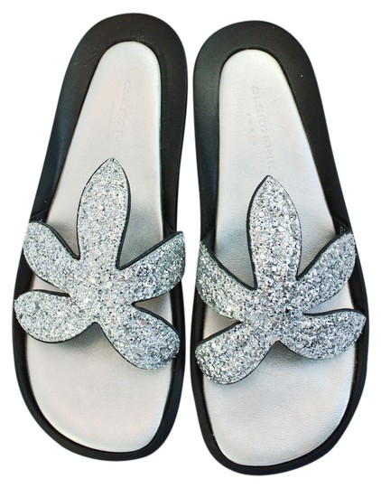 Robert Clergerie Glitter Slide Comfortable Silver Sandals