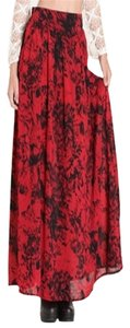 MINKPINK Maxi Skirt Red/black