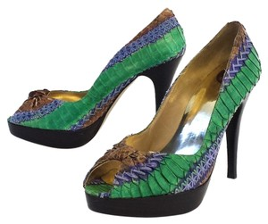 Stuart Weitzman Snakeskin Peep Toe green and blue Pumps
