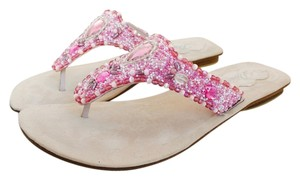 Delman Beaded Suede Pink Sandals