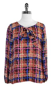 J.Crew Multi Color Print Silk Tie Neck Top