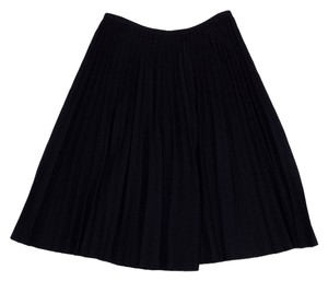 St. John Navy Knit Pleated Cirlcle Skirt