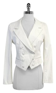 Elizabeth and James White Cotton Cropped Blazer