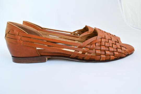 Michael Kors Leather Woven Brown Sandals