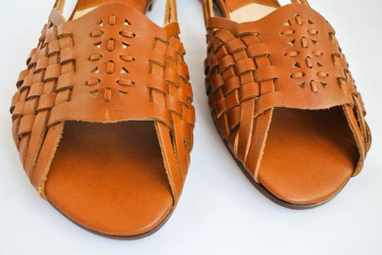 Michael Kors Leather Woven Brown Sandals Image 3