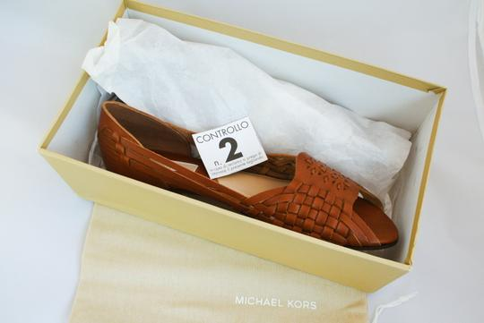 Michael Kors Leather Woven Brown Sandals Image 6