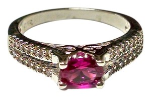 New Dark Pink Topaz Ring Size 7 Silver Plated J1188