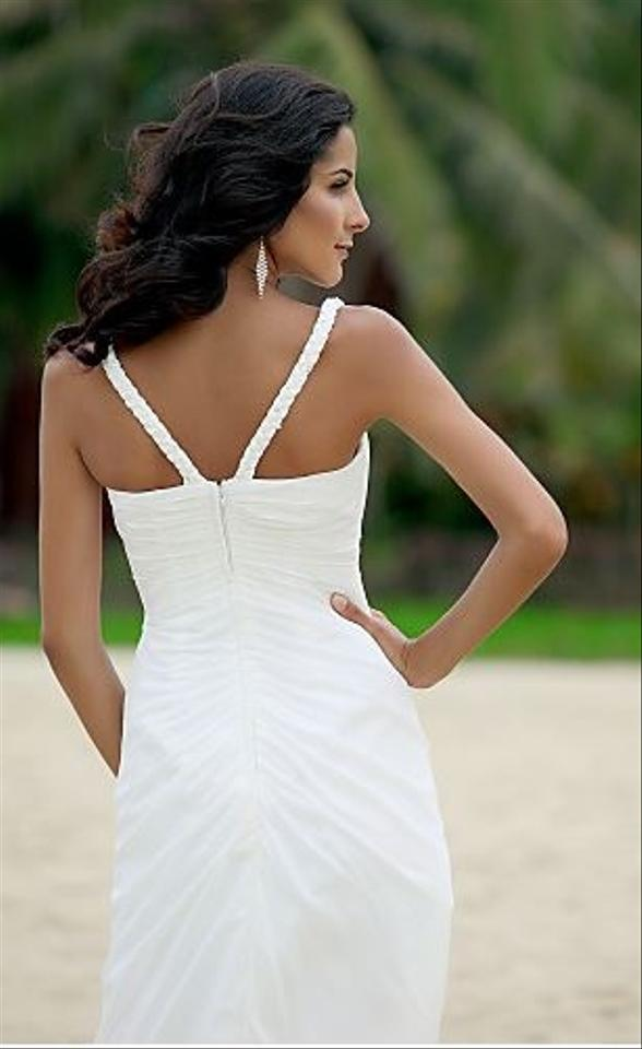Other a line v neck asymmetrical tea length chiffon for Light in the box wedding dress reviews