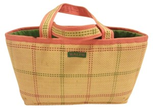 Ralph Lauren Straw Material Tote in green/tan/pink