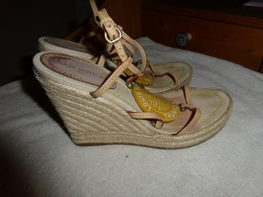 Louis Vuitton yellow 'Trunks & bags' logo; beige espadrille Wedges