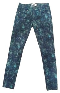 Paige Denim Print Cropped Skyline Peg Ankle Skinny Jeans