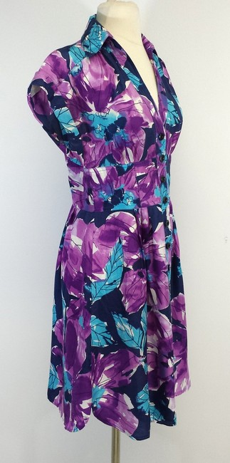 Nanette Lepore short dress Violet Blue Floral Print Silk on Tradesy
