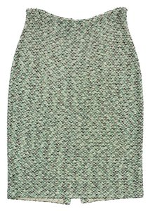 St. John Green Tan Metallic Tweed Skirt