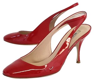 Miu Miu Red Patent Leather Slingback Pumps