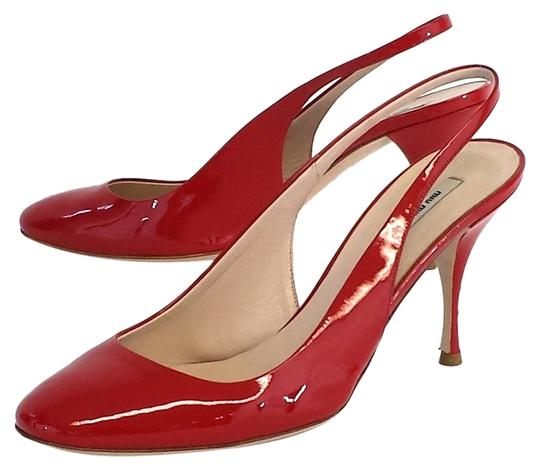 Miu Miu Red Patent Leather Slingback Heels Pumps