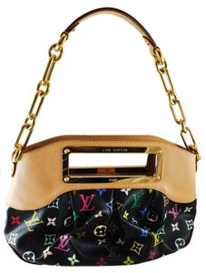 Louis Vuitton Leather Judy Pm Satchel in Black Monogram Multicolor