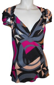 Diane von Furstenberg Silk Tunic Blouse Top black, grey, pink multi geometric print