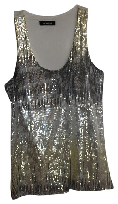 Peridot Top Ivory/Silver and Gold Sequins