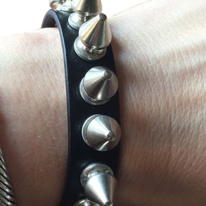 Burberry Burberry Black Leather Spike Bracelet