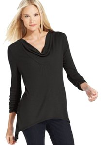 Style & Co Polyester/Rayon. Machine Washable. Imported. Cowl Neckline. Pullover Three-quarter Sleeves With Ruched Cuffs. Hem. Easy Top BLACK