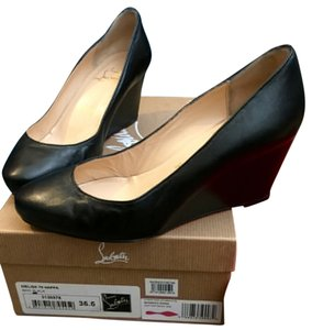 Christian Louboutin Heel Leather 70mm Loubies Comfortable Casual black Wedges