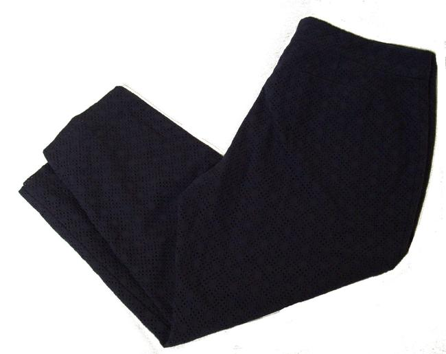 Ruby Rd. Eyelet Fabric Flat Front Lined Trouser Pants blue