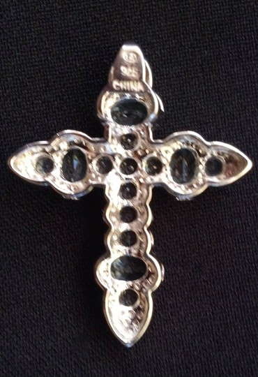 unknown STERLING SILVER SWISS BLUE TOPAZ Large Dimensional Cross Pendant NEW
