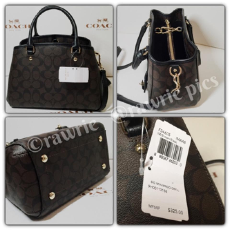 2f31168d58ec0 Coach New Signature Monogram C Logo Classic Black Brown Canvas Leather  Satchel Shoulder Strap Convertible Handbag. 1234
