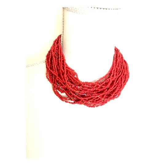 UNKNOWN RED SEED BEAD CHOKER