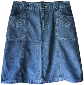 Cherokee Casual Patch Pockets Ribbing Accents Skirt Denim
