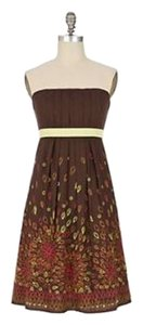 Anthropologie short dress brown Honeyhouse Tabitha Strapless Cotton Summer on Tradesy
