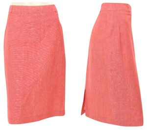 Louis Feraud Peach Wool Pencil Skirt Peachy Red