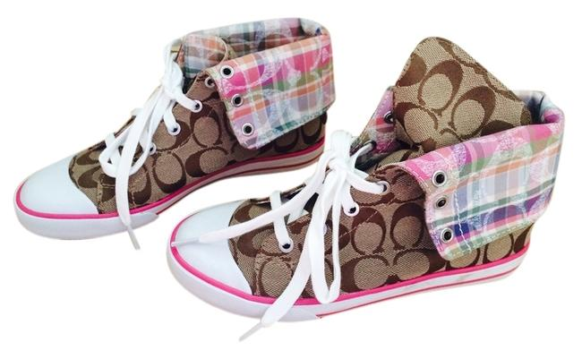 Item - Tan and Pink Accented Exterior with Multi-color Plaid Interior Bonney High Top By Sneakers Size US 6 Regular (M, B)