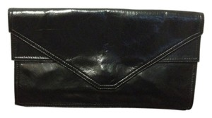 Eva Blue Vintage Leather Double Purse Black Clutch