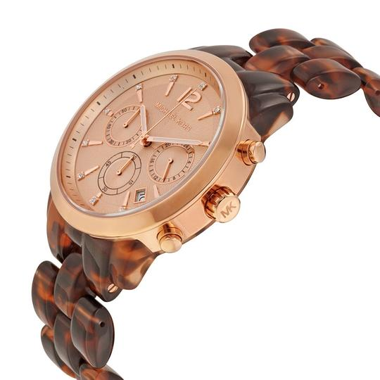Michael Kors Rose Gold Dial Clear Tortoise Shell Acetate Casual Ladies Watch