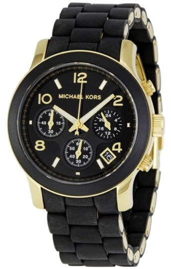 Michael Kors Black Silicone Covered Gold Dial Casual Sport ladies Watch