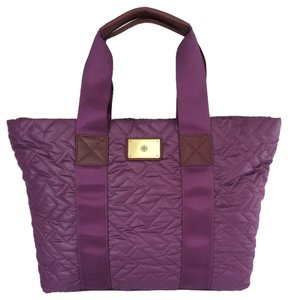 Tory Burch Ski Jaden Quilted Nylon Tote in Purple