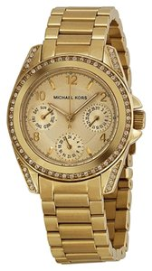 Michael Kors Gold Tone Crystal Embellished Stainless Steel Designer Ladies Watch