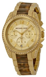 Michael Kors Gold Tone Tortoise Shell Crystal Embellished Boyfriend Style Ladies Watch