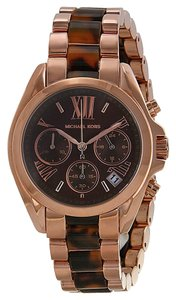 Michael Kors Tortoise Shell Brown Dial Rose Gold Boyfriend Ladies Watch